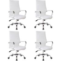 Conjunto Com 4 Cadeiras De Escritório Diretor Cleaner Branco
