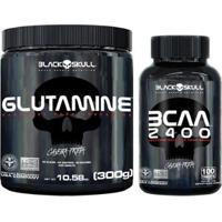 Kit Glutamina 300G + Bcaa 2400 100 Tabs Black Skull - Unissex