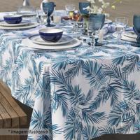 Toalha De Mesa Tropical- Azul & Branca- 160X160Cmsantista