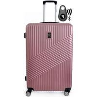 Kit Com Mala De Bordo Geometric E Localizador Bluetooth Reaggio - Com Rodas 360º - Santino - Unissex-Rosa