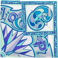 Emilio Pucci Echarpe De Seda Com Estampa - Azul