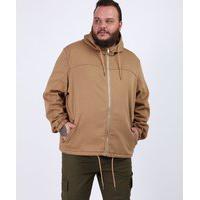 Jaqueta Masculina Plus Size Com Capuz E Bolsos Caramelo