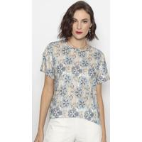 Blusa Abstrata- Azul & Bege- Cotton Colors Extracotton Colors Extra