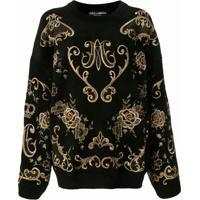 Dolce & Gabbana Pullover De Tricô Bordado - Preto