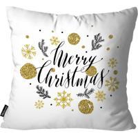 Capa Para Almofada Mdecor De Natal Merry Branco
