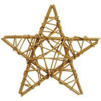Estrela Rattan Decoraçáo Natal 15Cm Dourado