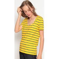 Blusa Listrada Com Bordado- Amarela & Pretalacoste