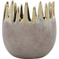 Vaso Decorativo Assimã©Trico- Cinza & Dourado- 14Xã˜13Rojemac