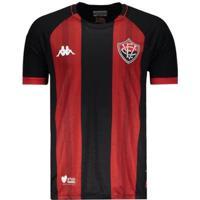 Camisa Kappa Vitória I 2019 Masculina - Masculino-Preto