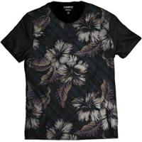 Camiseta Casual Florida Havaiana Masculina - Masculino-Preto
