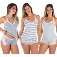 Kit 3 Baby Doll Renda Grécia Feminino - Feminino-Cinza