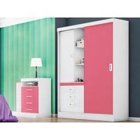 Guarda-Roupa Com 2 Portas Slim Branco/Rosa - Lc Móveis