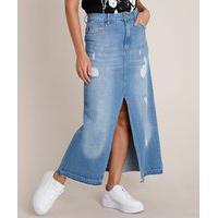 Saia Jeans Feminina Longa Destroyed Com Fenda Azul Médio
