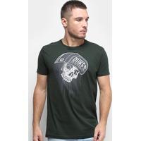 Camiseta Rukes Skull Cap Masculina - Masculino-Verde