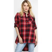 Camisa Ellus Oversized Xadrez Feminina - Feminino-Vermelho