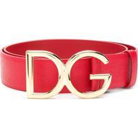 Dolce & Gabbana Cinto De Couro Com Logo - Vermelho