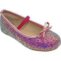 Sapato Boneca Flocada Laã§O - Rosa & Roxa- Luluzinhaluluzinha