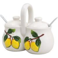 Porta Condimentos Lemons Com Tampa & 2 Colheres- Branca Bon Gourmet