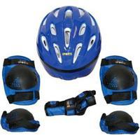 Kit Proteção 7 Itens Skate Rollers Bicicleta Patins - Rosa - G - Unissex