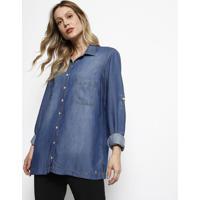 Camisa Jeans Com Bolsos - Azul - Dudalinadudalina