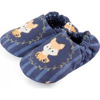 Pantufa Tatibella Baby Raposa Azul Marinho E Dourada
