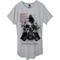 Camiseta Longline Estampada Corvuz Radioative Cinza Mescla
