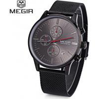 Relógio Megir M2011 Masculino Pulseira De Aço - Preto