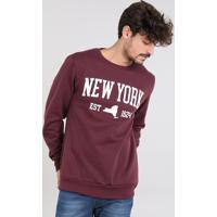 """Blusão Masculino """"New York"""" Em Moletom Gola Careca Vinho"""