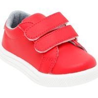 Tênis Com Velcro & Recortes- Vermelho & Brancobambini