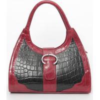 Bolsa Em Couro Com Textura Animal- Preta & Vermelha-Di Marlys