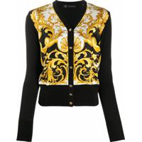 Versace Cardigan Com Estampa Barroca De Seda E Algodão - Preto