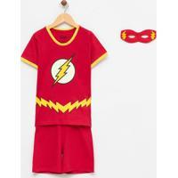 Pijama Infantil Algodão Com Estampa Flash Com Máscara - Tam 4 A 14