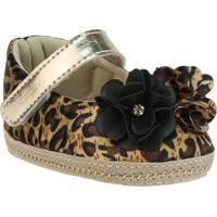 Sapato Boneca Animal Print Com Flores- Dourado & Marrom