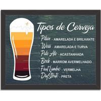 Quadro Decorativo Tipos De Cerveja Preto - Médio