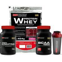 Kit Whey Protein 454 G + Bcaa 4800 120 Cáps + 100% Creatine 100 G + Coqueteleira - Bodybuilders - Unissex-Chocolate
