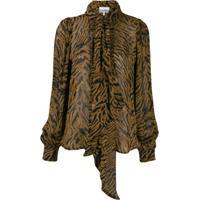 Ganni Camisa Com Amarração - Marrom
