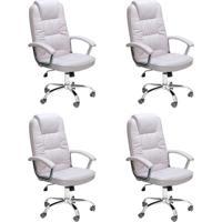 Conjunto Com 4 Cadeiras De Escritório Presidente Finland Branco