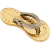 Pingente Chinelo Tudo Joias De Aço Inox Modelo Dourado - Unissex-Dourado