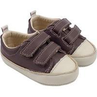 Tênis Infantil Couro Catz Calçados Noody Velcro - Unissex-Marrom Escuro