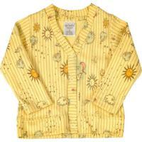 Casaco Cardigan Em Suedine Amarelo