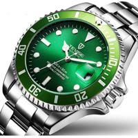 Relógio Tevise Water Ghost Masculino Automático Pulseira De Aço - Verde