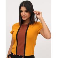 Blusa Texturizada Com Recortes- Amarela & Marrom- Mimiliore