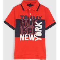 Camisa Polo Tommy Hilfiger Kids Infantil Lettering Laranja - Laranja - Menino - Algodã£O - Dafiti