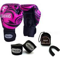 Kit Boxe Muay Thai Fheras New Top Luva + Bandagem Tribal Rosa 005