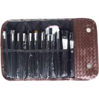 Kit Pincéis Rubys De Maquiagem 12 Peças + Estojo - Unissex-Marrom