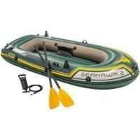 Barco Bote Inflável Intex Seahawk 200 Kg Par Remos Bomba - Unissex-Verde