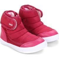 Tênis Cano Alto Infantil Bibi Velcro Matelassê Agilityt Mini Feminino - Masculino-Rosa Escuro