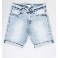 Bermuda Jeans Juvenil Reta Com Rasgos Azul Claro