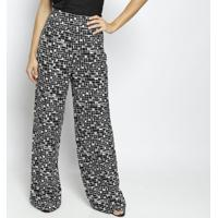 Calça Pantalona Com Zíper- Preta & Branca- Moisellemoiselle
