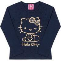 Blusa Infantil Estampada Hello Kitty Feminina - Feminino-Azul Escuro